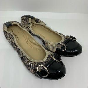 Tahari EUC Gustave Ballet Flats Cap Toe Snake Skin
